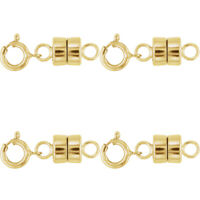 4 - NEW SOLID 14k Yellow Gold Barrel Magnetic Converter Necklace Clasps