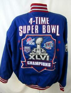 New York Giants Mens X-Large 4 Time Super Bowl Champions Twill Jacket AGIA 227