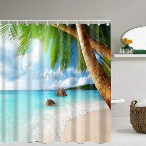 180*180cm Bathroom Washroom Shower Curtain Tropical Palm Waterproof 12 Hook