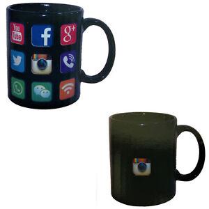 2 x Social Media Colour Changing Magic black heat sensitive Coffee Mug Gift Tea
