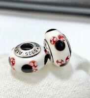 2 PANDORA Silver Murano Charm Disney MinnieMouse Beads #302M