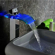 Sprinkle Color Changing LED Waterfall Bathroom Sink Faucet Wall Mount Brass
