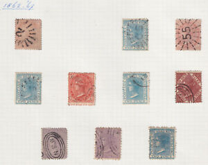 NSW, 10 used 1860s stamps