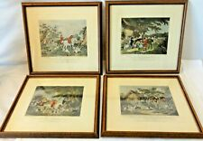 Antique Set of 4 Hand Colored Framed Engravings – Morland and Bell – Fox Hunting