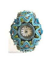 NEW GENEVA TEAL,BLUE & BRASS+CRYSTALS JEWELRY CUFF,BRACELET,BANGLE WATCH