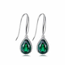 5.4ct Pear Rich Emerald Dangle Earrings Solid Sterling Silver Silver 925 Gift