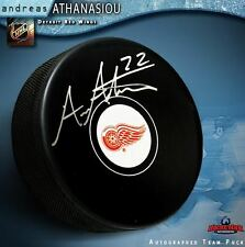ANDREAS ATHANASIOU Signed Detroit Red Wings Puck