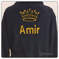 Personalised Men's Black Fleece Bath Robe Dressing Gown Crown Christmas Gift