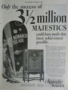 1932 Majestic superheterodyne radio Mighty Monarch of the air vintage ad
