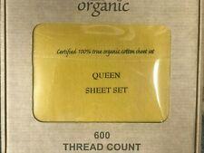 100% Organic Cotton 4PCs  Bed Sheet Set 600 TC, Lemon Yellow Queen Size