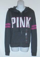 Victoria's Secret Pink French Terry Varsity Logo Hoodie Gray Medium (M) NWT