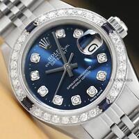 LADIES ROLEX DIAMOND SAPPHIRE DATEJUST 18K WHITE GOLD & STEEL BLUE DIAL WATCH