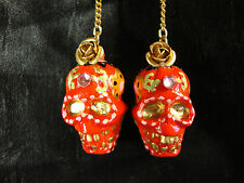El Dia de Los Muertos Earrings Sugar Skull Red Day of the Dead Skeleton Dangles