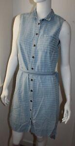 Fat Face Ladies Blue Denim Style Button Dress Size 14