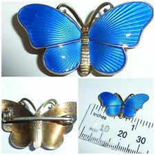 Vintage Norway Silver guilloche Enamel Blue Butterfly Brooch Pin Ivar T Holth
