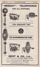 GENT & CO Leicester; Regent Telephone Makers - Antique Engineering Advert 1905