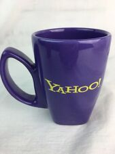 Yahoo Mug Purple Yellow Inscription 12 oz Unique Handle Discontinued