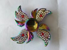 Rainbow Four-Winged Angel Wings Red Blue  Stones Fidget Hand Spinner Finger Toy