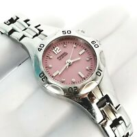 Fossil Blue AM-3904 Pink Dial Stainless Steel Quartz Cocktail Ladies Watch 6.25""