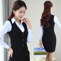 Ladies Formal Work Suits Vest Sleeveless Slim Fitted Waistcoat Gilet Tuxedo Coat