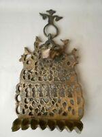 ANCIENNE LAMPE EN BRONZE HANNOUKAH/HANOUKAH/HANOUCCA/HANOUKA MAROC 19ème JUDAICA