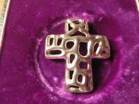 Schöner 925 Silber Anhänger Modern Kreuz Glaube Durchbruch Tolles Design