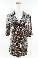 New York & Company Short Sleeve Surplice Blouse with Ribbon Tie Size M Brown