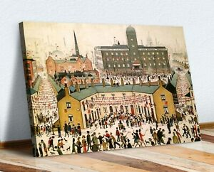 VE DAY VICTORY IN EUROPE CANVAS WALL ART PRINT ARTWORK PAINTING Ls Lowry style