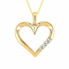 Stunning 0.30 Cts Round Brilliant Cut Natural Diamonds Heart Pendant In 14K Gold