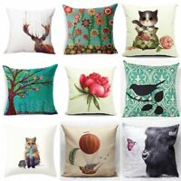 Fashion Home Throw Pillow Case Fox Sofa Waist Cushion Cover Decor Cotton Linen