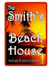Personalized Beach House Sign Printed with YOUR NAME. Custom Full Color Signs