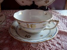 HEREND - CORONATION Pattern GOLD Leaves, BLUE Trim CUP & SAUCER SET - HUNGARY