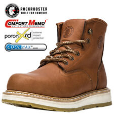 ROCKROOSTER Men's Soft Toecap Work Safety Boots Lace-up Water Resistant Shoes
