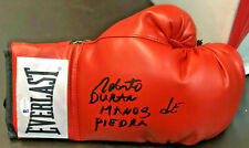 Roberto Duran Autographed Red Boxing Glove Manos de Piedra Beckett BAS Witnessed
