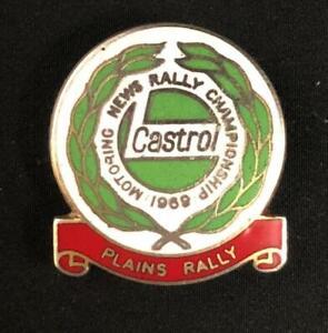 CASTROL MOTORING NEWS PLAINS RALLY CHAMPIONSHIP 1969 ENAMEL LAPEL PIN BADGE