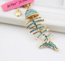 fish bone gold chain necklace Fashion Jewelry Betsey Johnson Pendant rhinestone