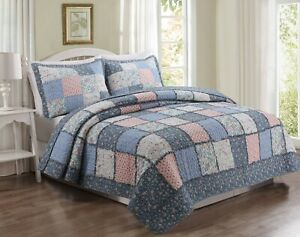 Mraz Blue&Red Real Patchwork 100%Cotton 3-Piece Quilt Set, Bedspread, Coverlet