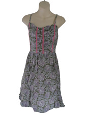 Green & Pink Paisley Print Dress Ladies Size 8 Papaya Cotton Summer Frock