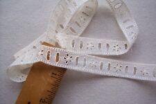 Vtg Early 1900 Edwardian Cotton Eyelet Ribbon Beading Insertion Lace Trim 2 yds