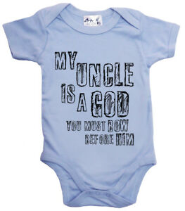 "Funny Baby Bodysuit ""My Uncle is a God Bow Before Him"" Niece Nephew Gift Love"