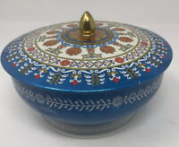England Vintage Cookie Candy Tin Container Blue Red