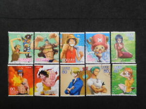 JAPAN COMMEMO STAMPS ( ANIMATION HERO & HEROINE.ONE PIEACE ) USED