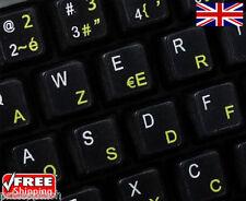 Français anglais noir autocollants avec les lettres jaunes Ordinateur Portable PC