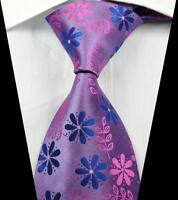 New Classic Florals Pink Blue JACQUARD WOVEN 100% Silk Men's Tie Necktie
