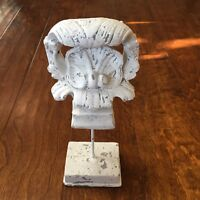 """Vtg Scroll Sculpture White Distressed Metal /concrete table top or garden 12"""""""