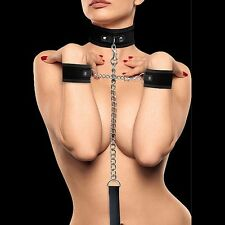 OU140BLK VELCRO COLLAR WITH SEPERATE CUFFS - BLACK BONDAGE KIT COLLARE E MANETTE