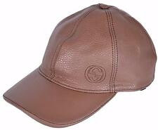 NEW Gucci Men's 337798 Interlocking GG Brown Calf Leather Baseball Cap Hat XS