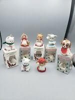 7 Jasco Lil Chimer Porcelain Christmas Bell Ornament Dog Cat Moose Girl Bear Vtg