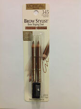 L'OREAL BROW STYLIST BROW SHAPING DUET PENCIL LIGHT BROWN #345 NEW.