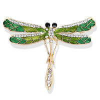 Esmalte libélula broche collar de cristal de novia broche de la mujer joyerQA